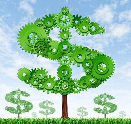 ertrag: Geld verdienen und Geb�ude Reichtum Symbol von wachsenden B�umen in der Form von einem Dollar-Zeichen von Getrieben und coggs zeigt das Konzept von Erfolg und Gewinn aus Produktion und Bereitstellung von Dienstleistungen gemacht vertreten.