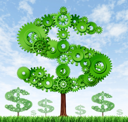 Making money and building wealth symbol represented by growing trees in the shape of a dollar sign made of gears and coggs showing the concept of success and profits from manufacturing and providing services.