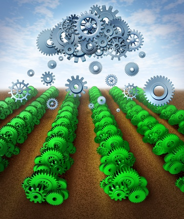 Technology and growth representing profits and success as a result of careful planning and strategy in the world of business and manufacturing represented by green gears and cogs as crops with a symbol of a cloud raining down data on an agricultural farm
