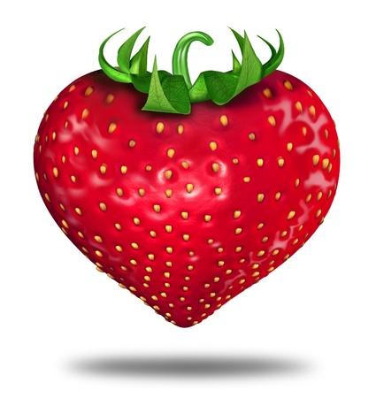 Healthy lifestyle symbol represented by a red strawberry in the shape of a heart to show the health concept of eating well with fruits and vegetables. Stock Photo