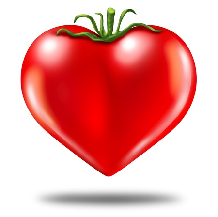 anti oxidants: Healthy lifestyle symbol represented by a red tomato in the shape of a heart to show the health concept of eating well with fruits and vegetables. Stock Photo