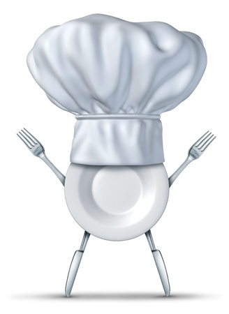 Kitchen chef symbol with fork plate and knife representing the concept of healthy cooking and creative fun cuisine for kids and adults eating health food and light snacks as fast food.