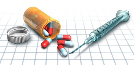 intoxication: Prescription drugs and medicine with a syringe symbol representing an overdose and intoxication addictive concept related to an addiction to prescribed under the counter products found in a pharmacy.