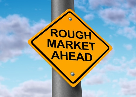 foreclosure: Rough stock market ahead road symbol representing the volatile swings and corrections in the equities trading of wall street and all exchanges of  business funds.