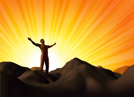 sun worship: Worship and faith symbol represented by a man on a mountain top with his arms open on a glowing sunset background showing the concept of God and spirituality. Stock Photo