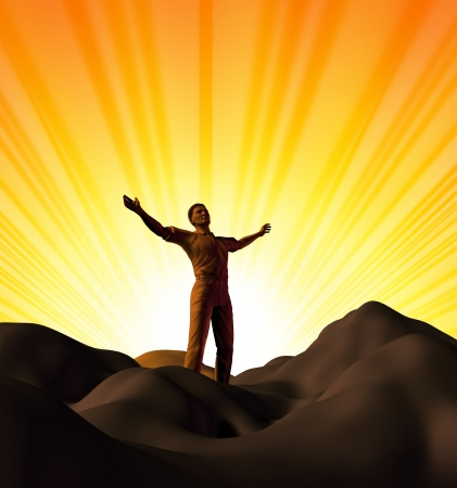 gods: Spirituality and worship symbol represnted by a man on top of a mountain with a sunset glowing background showing the concept of inspiration and religion. Stock Photo
