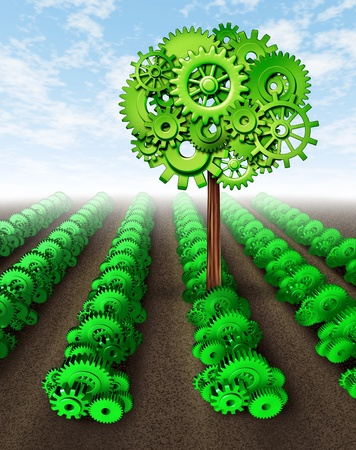 thriving: Success and prosperity symbol represented by a farm feild of growing plants made of gears and cogs with one thriving plant reaching for the sky as a result of intelligent investing with smart strategy and planning. Stock Photo