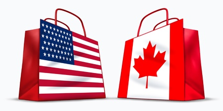 U.S.A. and Canada trade symbol represented by two red shopping bags with the American and Canadian flag with stars and stripes and the maple leaf symbol showing the concept of trading. Stock Photo - 10299611