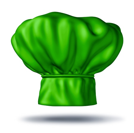 Green chef hat representing vegetarian and organic cooking creating dishes with healthy lyfestyle gourmet food like fruits and vegetables Stockfoto