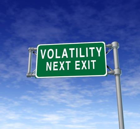 volatility: La volatilidad en el mercado de valores s�mbolo representado por una se�al en la carretera camino verde que muestra los peligros de una sesi�n vol�til en el Dow Jones de Wall Street o en el que las acciones suben y bajan como una monta�a rusa.