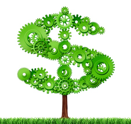 Making money and building wealth symbol represented by a growing tree in the shape of a dollar sign made of gears and coggs showing the concept of success and profits from manufacturing and providing services. Stockfoto