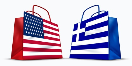 greek flag: America and Greece trade symbol represented by two shopping bags with the American and the Greek flag with stars stripes and blue and white cross symbol showing the concept of trading between two trading partners.