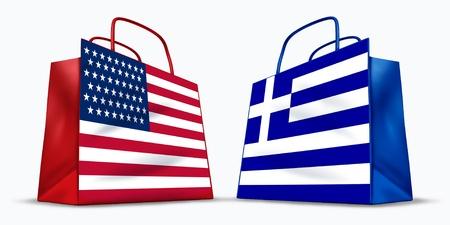 Amerika und Griechenland Handel Symbol durch zwei Einkaufstüten mit der amerikanischen und der griechischen Flagge mit Sternen und Streifen, blaue und weiße Kreuz-Symbol zeigt das Konzept des Handels zwischen zwei Handelspartnern vertreten. Standard-Bild - 10455158