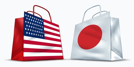 rising sun: America and Japan trade symbol represented by two shopping bags with the American and the Japanese flag with stars stripes and red rising sun showing the trading between two economic partners.