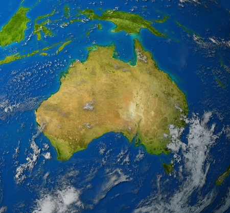 Australia realistic map of the continent of Oceana in the pacific region of asia representing the Ozzies and the land of Aussie. Stock Photo - 10455201