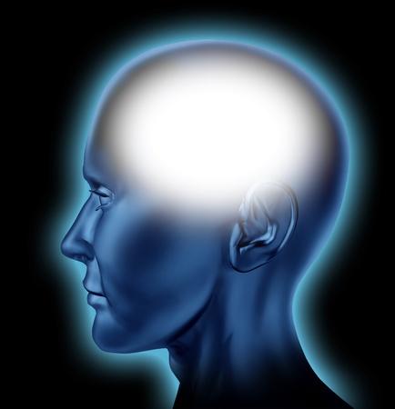 sistema nervioso: En blanco de cabeza humana con un área blanca para la edición que representa el concepto de pensamiento e inteligencia og la mente. Foto de archivo