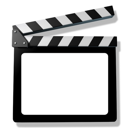 Blank Film slate or clapboard  representing film and cinema announcement productions and hollywood reviews of new movies and television shows.