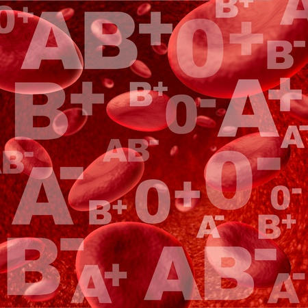 Different blood group and types representing red blood cells flowing through veins and human circulatory system representing donors and recipients of transfusions for emergency surgery in the medical health care system. photo