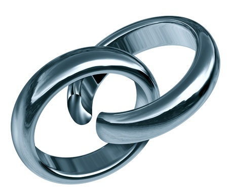 Divorce and separation symbol represented by two linked silver rings that has a break in the union showing the sad result of a broken relationship and break up during marriage or engagement. Stock Photo - 10455171