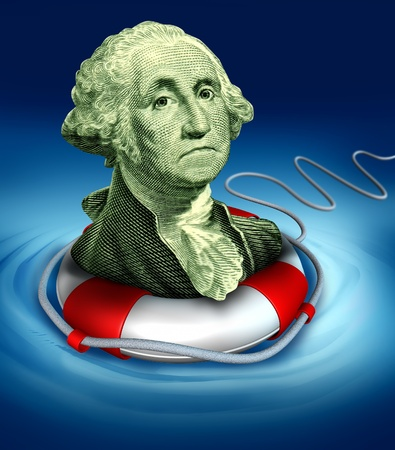 preserver: Drowning dollar bill symbol featuring the vintage portrait of George Washington with a life preserver in the water saving the downgraded American currency during a dangerous recesion and U.S. economy. Stock Photo