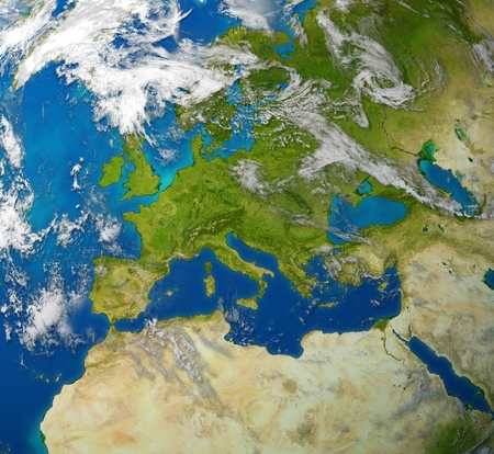Europe and European union countries including France Germany Italy and England surrounded by blue ocean and clouds. Stock fotó