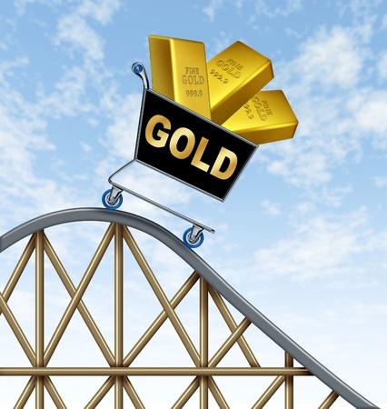 volatility: Paseo en monta�a rusa econ�mica que representa la ca�da del valor del oro debido a la tensi�n econom�a internacional representada por una ca�da carro de compras con barras de metal de oro amarillo en el mismo.
