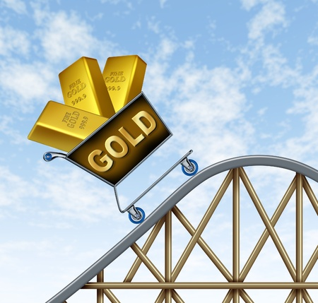 Rising gold prices symbol represented by a shopping cart  on a rollercoaster with gold bars going up in value as a hedged  investment bet against the recesion and inflation.