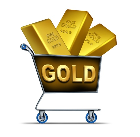Shopping for gold symbol represented by a shop cart with golden bars inside representing the buying and selling with the volatile trading price of gold because of the struggling recession hit economy.