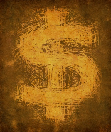Grunge vintage dollar sign representing the concept of business finance and money economy represented by a dirty and old yellow gold parchment texture symbol. Stock Photo - 10455177