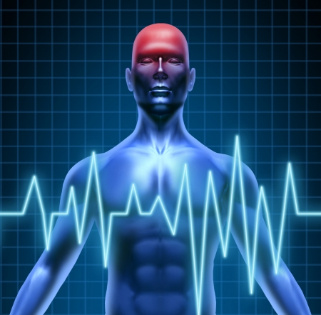 Human body with a head ache of the brain with a migrain and stroke accident caused by poor circulation representing neurology with heart blood health problems. Stock Photo