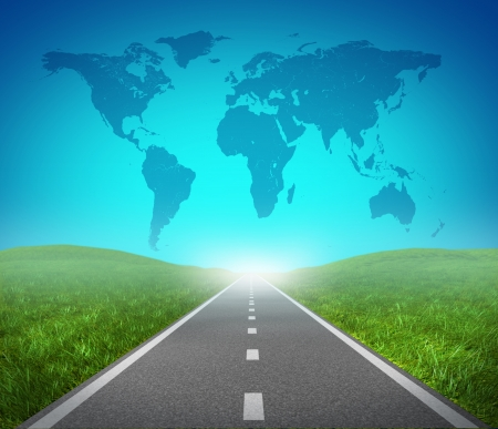 road map: International road highway and global map with green grass and asphalt street representing the concept of journey to a focused international destination resulting in success in trade and political direction. Stock Photo