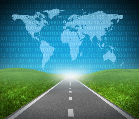international internet: Digital highway showing binary code and a global map with green grass and asphalt street representing the concept of a technology journey to a focused destination resulting in success of internet networks from around the world. Stock Photo