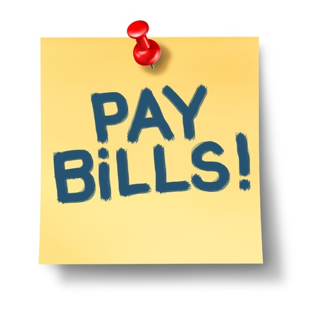 taxes budgeting: Paying bills office note reminder rewpresenting the concept of budgeting expenses caused by over spending and debt.