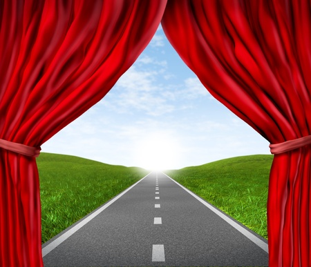 resulting: Open road highway and red velvet curtain drapes with green grass and asphalt street representing the concept of journey to a focused destination resulting in success and happiness. Stock Photo