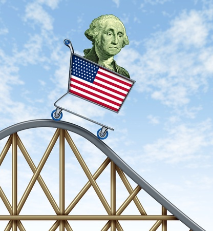 volatility: Economic rollercoaster ride representing the falling value of the american dollar due to international economy stress represented by a falling shopping cart with George Washington in it. Stock Photo