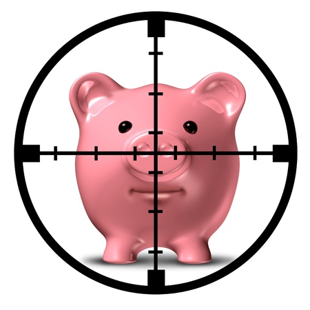 frugality: Hunting for specials and aim to save symbol of finance represented by a pink piggy bank with an aiming weapon crosshair representing the safest and most profitable economic strategies for business and home.