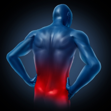 dorsalgia: Lower back pain represented by a human body with dorsalgia disease highlighted in red showing chronic spinal medical symptoms that relate to weakness numbness and tingling.
