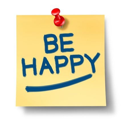 thumb tack: Be Happy yellow office note reminder with a red thumb tack representing the positive concept of happiness and joy in life and business and fighting depression and sadness by looking at the bright side of things.