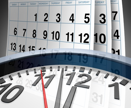 out time: Deadlines and schedules of events and important dates represented by a calendar and a clock showing the concept of appointments and time management. Stock Photo