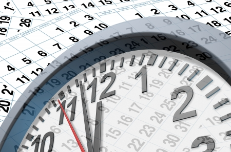 Deadlines and time symbol with calendar pages representing time and important dates in a month or days of the week represented by individual pages with numbers and a clock ticking fast with the hour minute and seconds clock hands.. photo