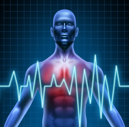 arteries: Heart and coronary disease representing the medical concept of cardiac problems stemming from human blood circulation with the heart and arteries represented by a man with a ekg monitor symbol.
