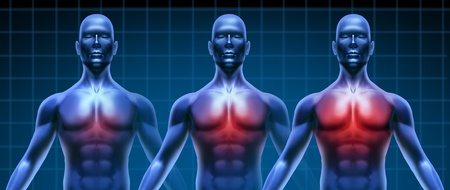 Heart illness getting gradualy worse represented by three humans with growing coronary disease of  the chest area represented by increasing red highlight of the cardiac medical inflammation. Stock Photo - 10455219