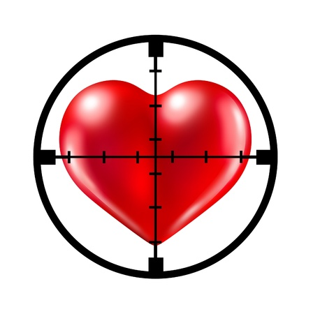 Hunting for love with a crosshair aiming target at a red heart representing the concept of dating and relationships search and searching for your soul mate. Stock Photo - 10455208