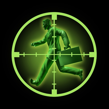 Job search and looking for employment in a rewarding and high paying career position  found through online hunting through clasified ads represented by a running green businessman with crosshairs aiming at him. 版權商用圖片