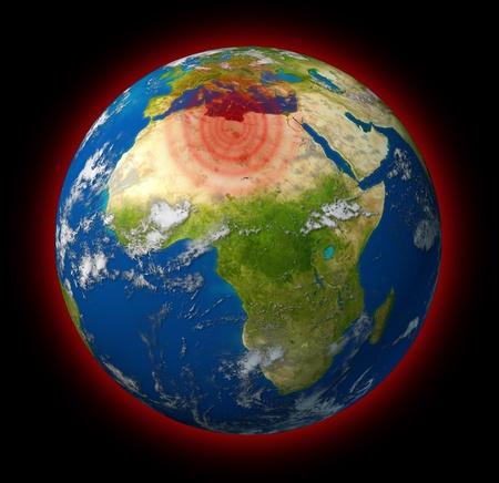Libya conflict global hot spot represented by the planet earth with Africa in focus showing red radiating concentric circles targeting the crisis in Libyan territory of revolution and war. Stock Photo - 10455235