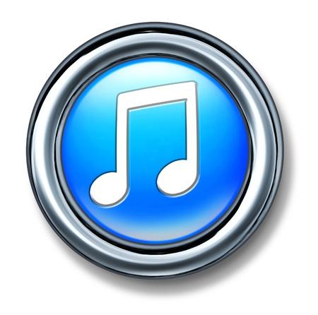 Botón de la música representado por un círculo de plástico azul con una nota musical que representan a las canciones de audio por Internet para su descarga digital. Foto de archivo - 10455220