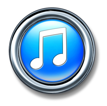 download music: Music button represented by a blue plastic circle with a musical note representing internet audio songs for digital download.