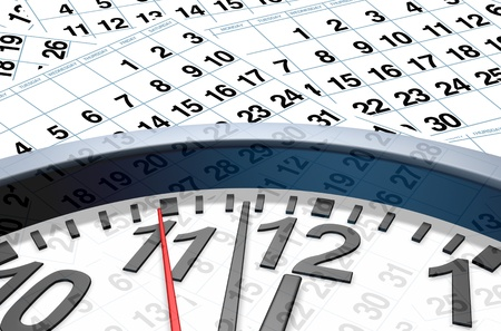 time of the year: Time and date with calendar pages representing important dates in a month or days of the week represented by individual pages with numbers. Stock Photo