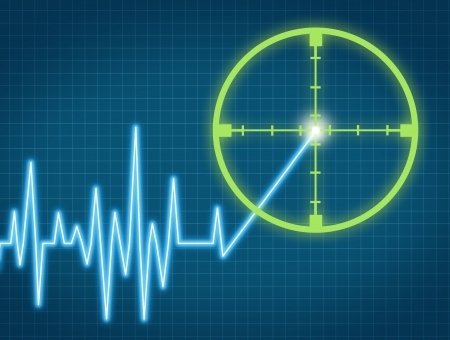 signals: Stock price target aiming to buy the equity from an individual company at the right high price for a profit represented by a chart with crosshairs targeting the rising ticker symbol. Stock Photo