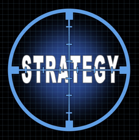 Strategy and focus on business goals and planning represented by an aiming crosshairs with the text showing the concept to see clearly the strategic aim and passion to acheive planned success. Imagens